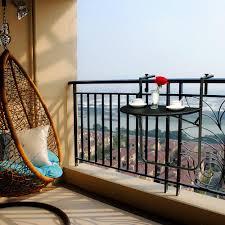 ikayaa adjustable folding balcony deck table hanging patio railing