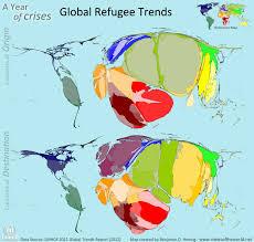 Cartogram Map Global Refugee Cartogram Map Refugees Of The Middle East