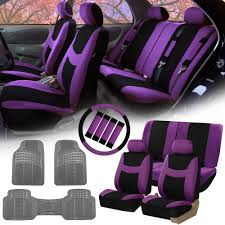 fh group purple black car seat covers for auto w steering cover