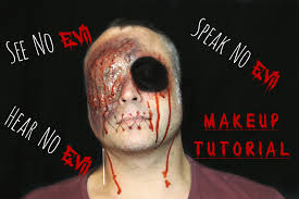 evil halloween makeup halloween see no evil hear no evil speak no evil quick simple