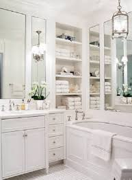 Recessed Shelves In Bathroom Smart Bathroom With Recessed Shelves Beside Rectangular Mirrors
