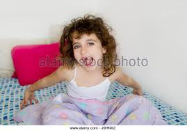 Bed Eyes Little Sleeping Bed Bedtime Child Curly Hair Stock Photos