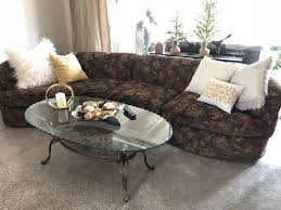 10 Foot Sectional Sofa Furniture 10 Ft Brown Chenille Sectional Sofa Bronze Glass Top