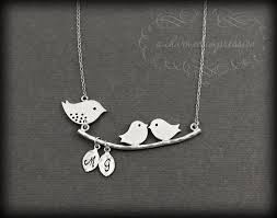 necklace for mothers and 2 baby birds necklace sterling silver necklace