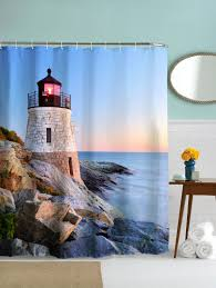 waterproof fabric sea lighthouse scenery bath shower curtain