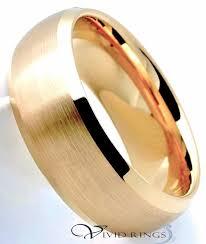 beveled ring men s gold plated brushed finish tungsten carbide beveled edges