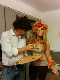 bob ross and his happy tree couples halloween costume all
