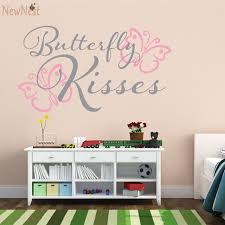 Nursery Decor Wall Stickers Butterfly Kisses Baby Nursery Wall Decal Butterfly Wall