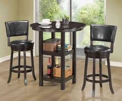 bar height dining table chairs two black counter height chairs and