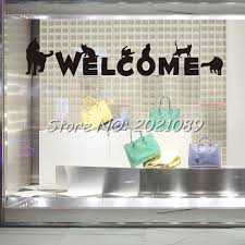 window decorations creative welcome sign cats wall sticker shop showcase glass window