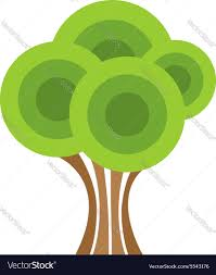 oak tree abstract geometric shapes style color vector image