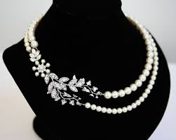 pearl necklace bridal jewelry images Bridal necklace pearl necklace vine leaf necklace swarovski jpg