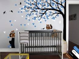 Tree Nursery Wall Decal Nursery Wall Tree Decal Raccoon Corner Tree Mural Vinyl Sticker