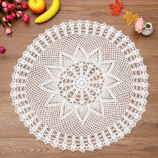 Crochet For Home Decor by 60cm Handmade Crochet Lace Placemat Doilies Cotton Round White