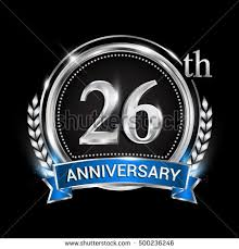 26th wedding anniversary twenty six years anniversary celebration logotype stock vector