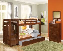 Wood Bunk Beds With Stairs Plans by Furniture Wooden Loft Bed With Storage Stairs And Book Shelves