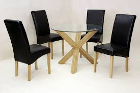 4 Seater Round Glass Dining Table Chair Round Black Glass Dining Table And Chairs Starrkingschool
