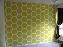 bumble bee nursery honeycomb painted wall using a template from