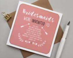 thank you bridesmaid cards bridesmaid card wedding skanky will you be