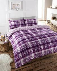 Single Bed Linen Sets Single Bed Soft Cotton Flannelette Plum Check Duvet Set Quilt