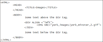 html div tag images and css