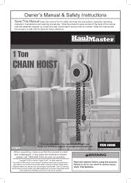 harbor freight tools haulmaster 1 ton chain hoist 996 user manual
