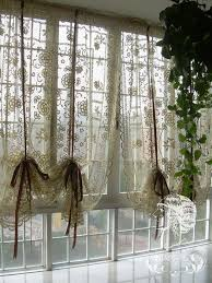 Country Curtains Roman Shades Set Of French Country Lace Crochet Cafe Kitchen Curtain With