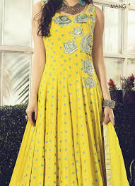 yellow cotton readymade anarkali salwar suit