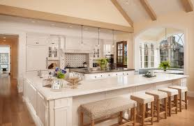 Kitchen Modern White Kitchen Features Sky Lights With Island And