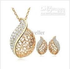 trendy gold earrings 2017 necklace earrings cheap gold jewelry sets trendy heart hollow