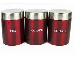 3 set kitchen canister storage set tea coffee sugar stainless