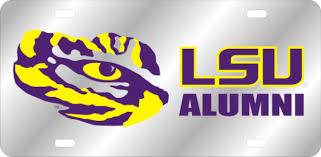 lsu alumni license plate products map purple and