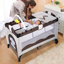 Baby Crib Beds Costway Coffee Baby Crib Playpen Playard Pack Travel Infant
