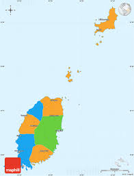 Grenda Flag Political Simple Map Of Grenada