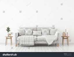 winter livingroom interior velvet sofa pillows stock illustration