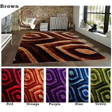 Lime Green Area Rug 8x10 by 8x10 Feet Modern Contemporary Shag Shaggy Brown Red Orange Purple