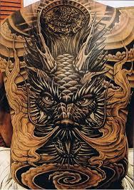 tattoo back face big face dragon tattoo on back