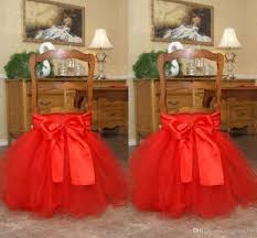Cheap Chair Sashes Red Tutu Tulle Chair Sashes Satin Bow Made To Order Chair Skirt