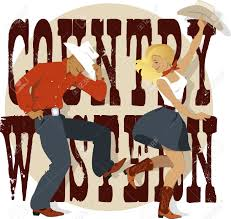young couple dancing country western style decorative lettering