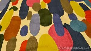 Miro 5ft X 7ft Wool by Color Oval Swatch Wool Rug Wall Tapestry Hand Embroidered 6ft X