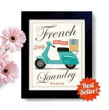Paris France Home Decor Laundry Room Decor French Laundry Kitchen Art Sign Wall Art