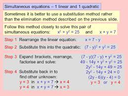 12 simultaneous equations 1 linear and 1 quadratic