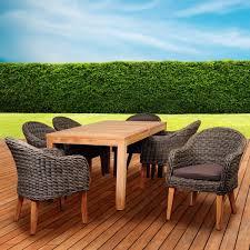 Teak Furniture Patio Amazonia Brynwood 6 Person Resin Wicker Patio Dining Set With Teak