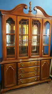 lexington solid wood cherry lighted china cabinet hutch for sale