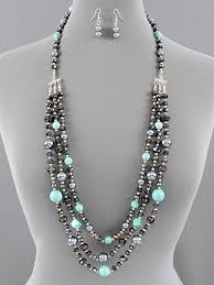 multi layered beaded necklace images Beautiful triple layered beaded necklace with turquoise dyed jpg