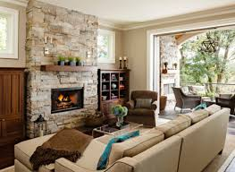 living room stone fireplace wall amazing craftsman style living