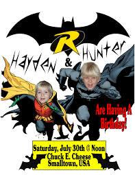 batman u0026 robin running personalized photo birthday invitations