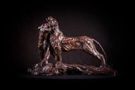 lioness sculpture sculpture small bronze pair lioness morning greet