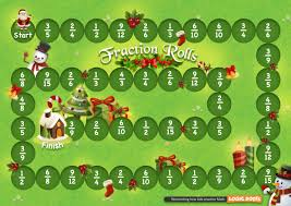 free christmas printable math game fractions roll logicroots