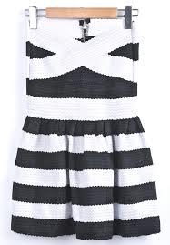 black white striped strapless pleated dress shein sheinside